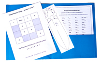 Blue Folder with Word Lists, Peeker & 7 Bingo Games